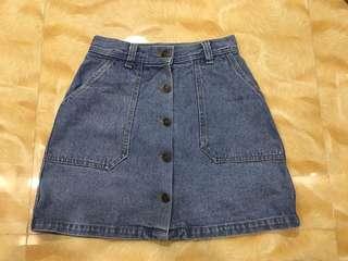 Highwaist Denim Button Down Skirt