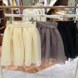 二手極新轉賣日本專櫃品牌snidel正品黃色澎裙紗裙