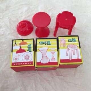 紅A 的骰迷你傢具 扭蛋 燈罩 漏斗櫈 圓櫈