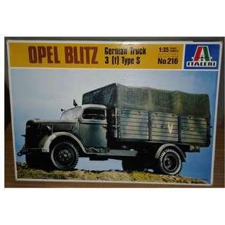 ITALERI 1/35 OPEL BLITZ 德軍 German Truck 3(t)Type S 軍用運輸卡車 軍事模型 1盒