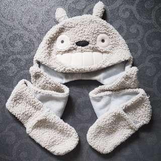 Totoro 龍貓 毛毛帽 連手套