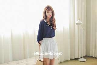 🇰🇷 Korean Ulzzang Navy Jersey preppy V-neck blouse [INSTOCK] | Varsity schoolgirl style
