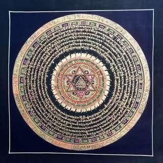 西藏手繪唐卡-六字真言,觀音心咒掛畫
