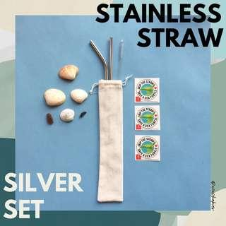 Reusable Stainless Straw - Silver Set