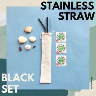 Reusable Stainless Straw - Black Set