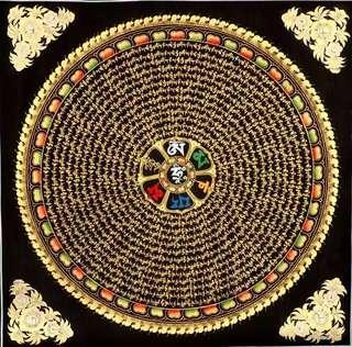 般若西藏純手功49*49cm六字真言經,觀音心咒唐卡掛畫