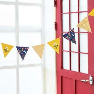 INSTOCK BN Yellow Navy White Floral Flag Bunting Banner Decoration