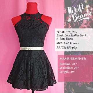 Black Lace Halter Neck A-Line Dress