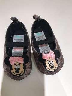 Disney品牌 美國直送金粉底米妮公仔BB學行鞋 內長10cm