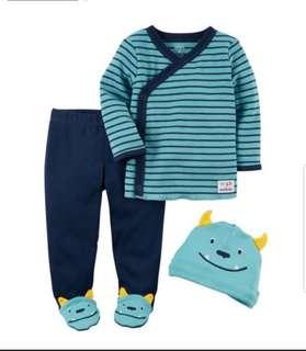 🚚 *3M* BN Carter's 3-Piece Footed Pant Set For Baby Boy