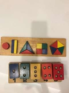 2 Wooden toys (counting colour blocks & shapes board)