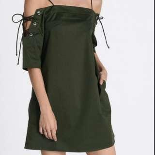 Love Bonito Off Shoulder Dress Army Green