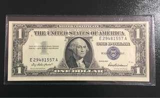 💫 1957 Silver Cert. $1 Blue Seal ! United States banknote!