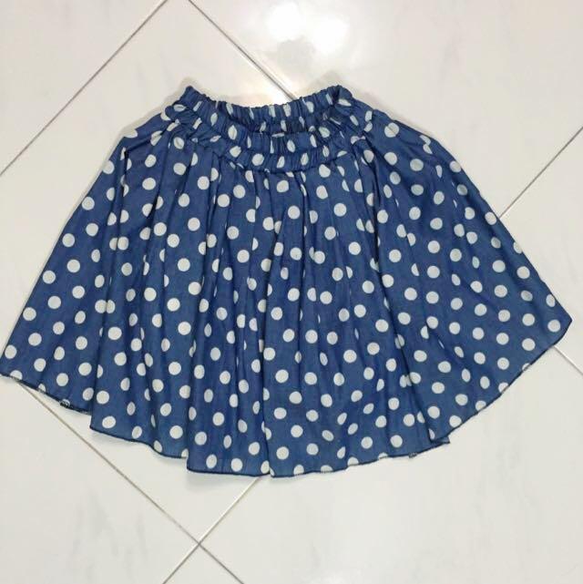af3483ed4a 2 FOR $5] BNIB Denim Blue Polka Dot Skater Skirt / Skorts, Women's ...