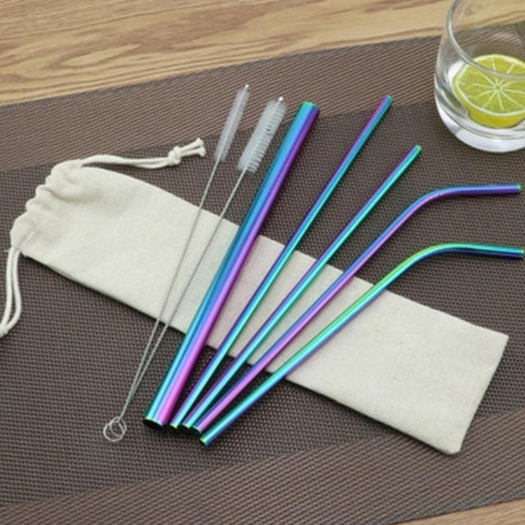 7Pcs/set Stainless Steel Metal Drinking Straw Reusable Straws ( bag Included)