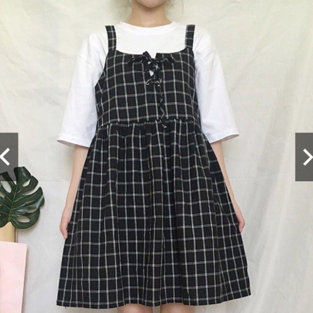 🎀可愛少女格子吊帶裙💃🏼 #五折出清女裝
