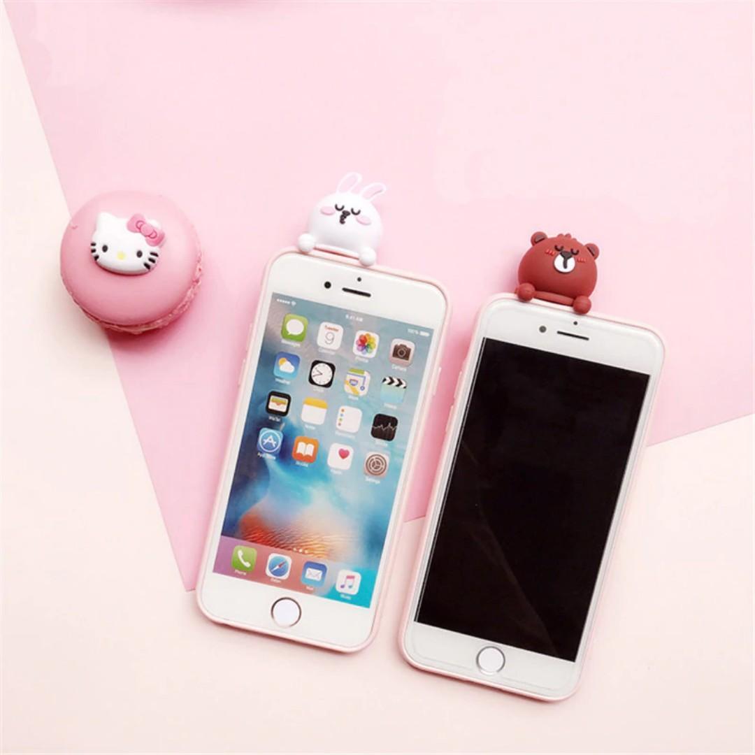 ✨ rabbit & bear couple 3d phone case (with 3d popup models