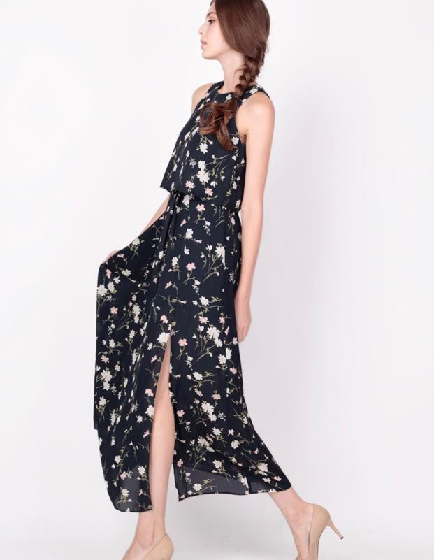 4f54947387b AforArcade Greta Overlay Maxi Dress in Navy