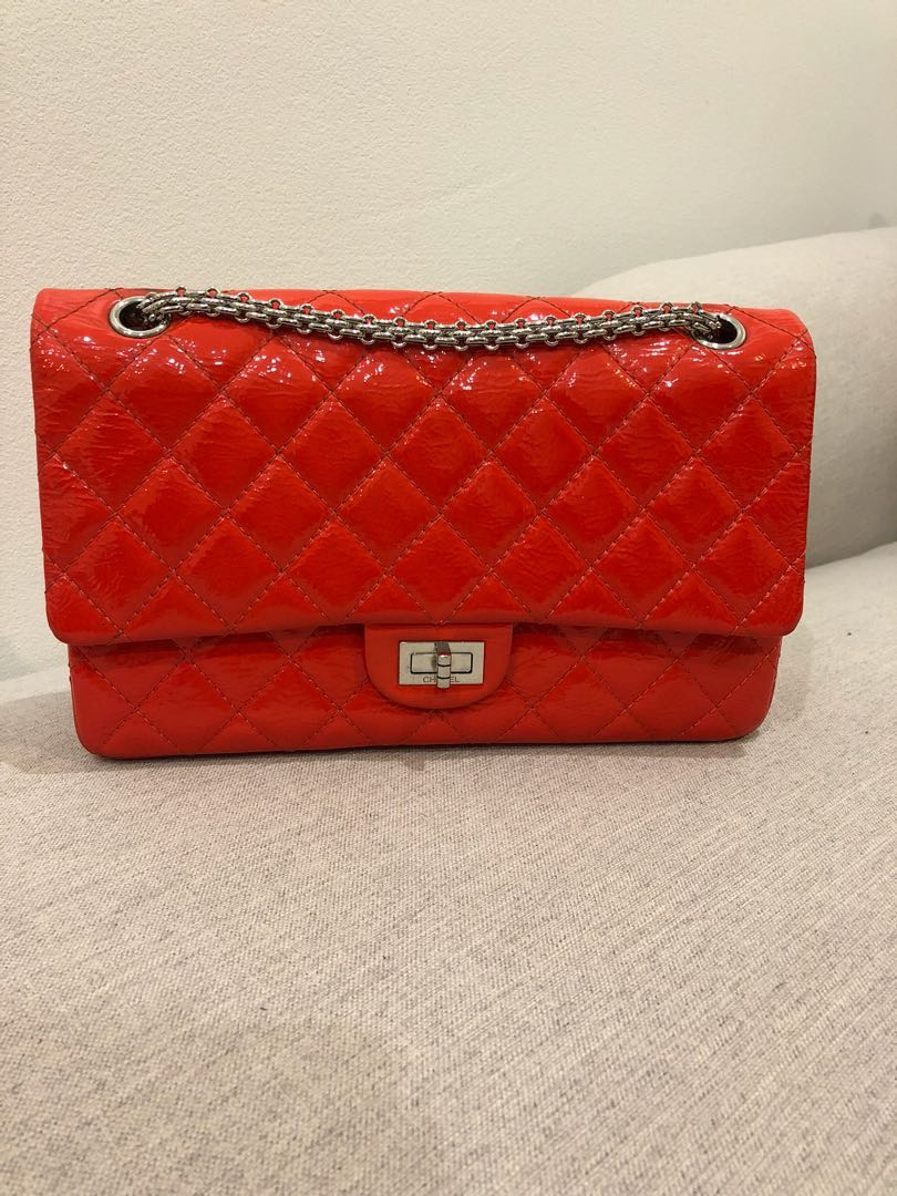 6b276739d847 Authentic Chanel 2.55 reissue red quilted patent leather Classic ...