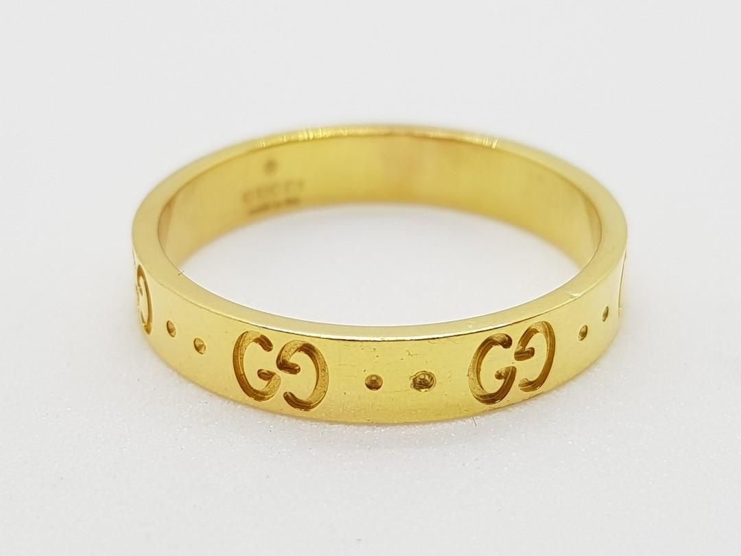 0990bd79d AUTHENTIC GUCCI MONOGRAM ICON 18K YELLOW GOLD THIN RING – SIZE 21 / SIZE  9.5 on Carousell