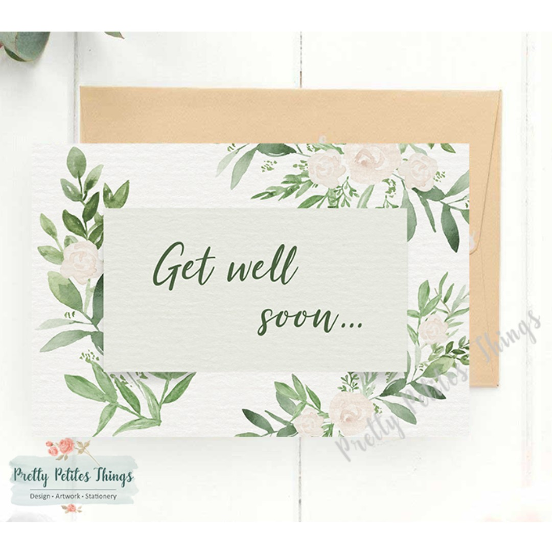 Customizable Watercolor Floral Card Take Care And Get Well Soon