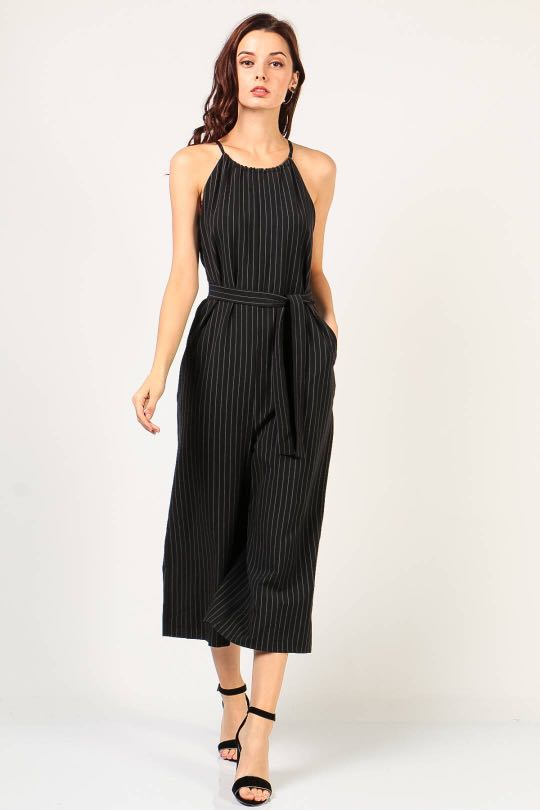 2ffbddcb925 Dressabelle Pinstripe Culotte Jumpsuit in Black