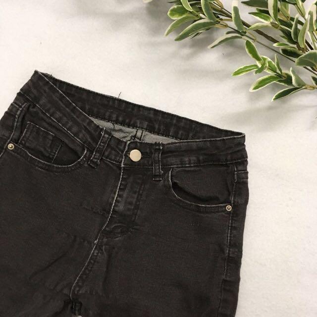 Elastic ankle jeans - black