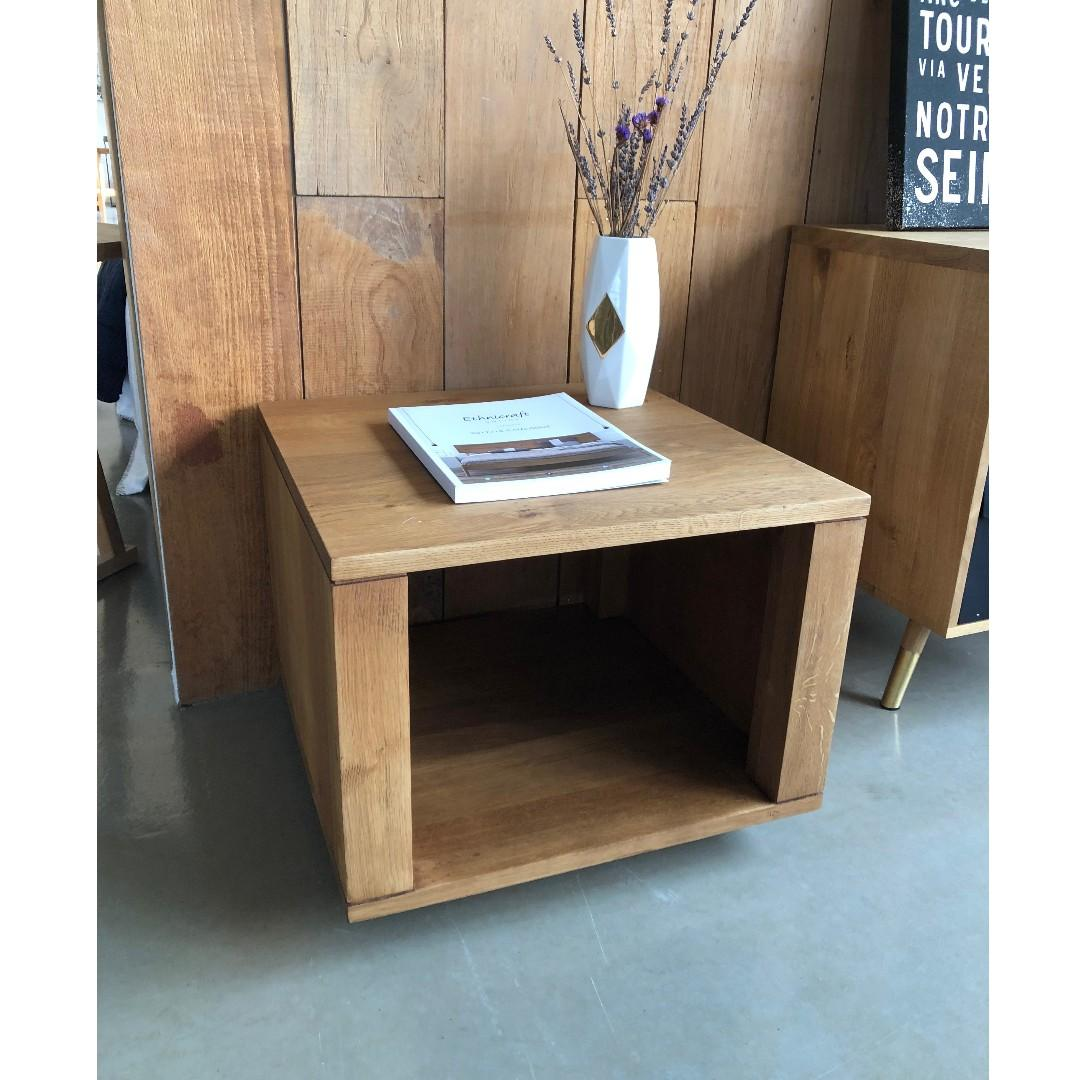 Ethnicraft Oak Cube Closed Side Table