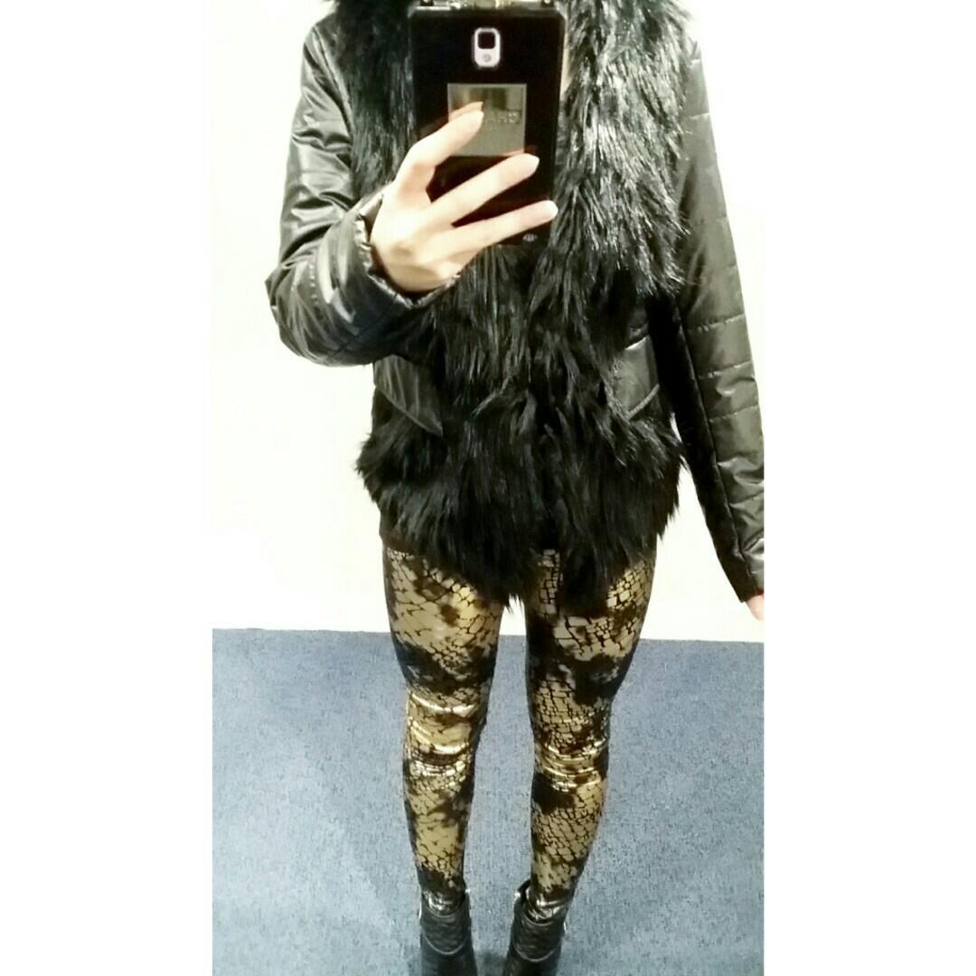 Faux Fur Faux Leather Jacket