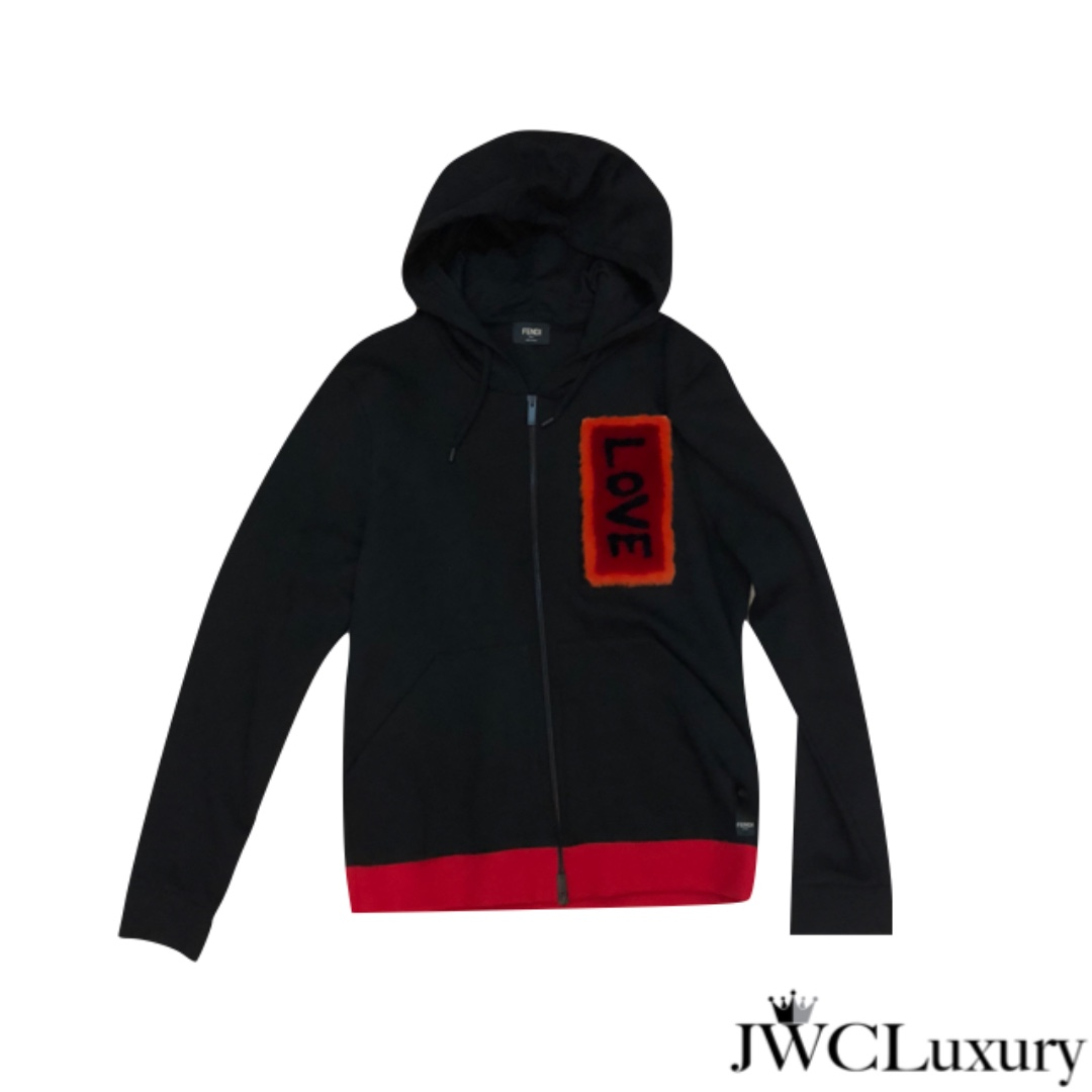 310f00d2 Fendi Black Jacket with Red Stripes and Love Patch