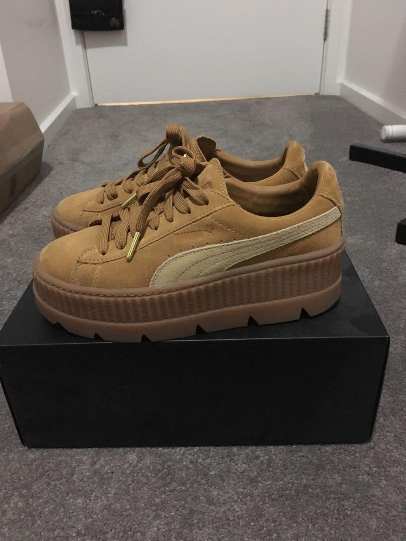 hot sale online 769b0 28905 Fenty Puma Cleated Creeper Tan/Suede Shoes, Women's Fashion ...