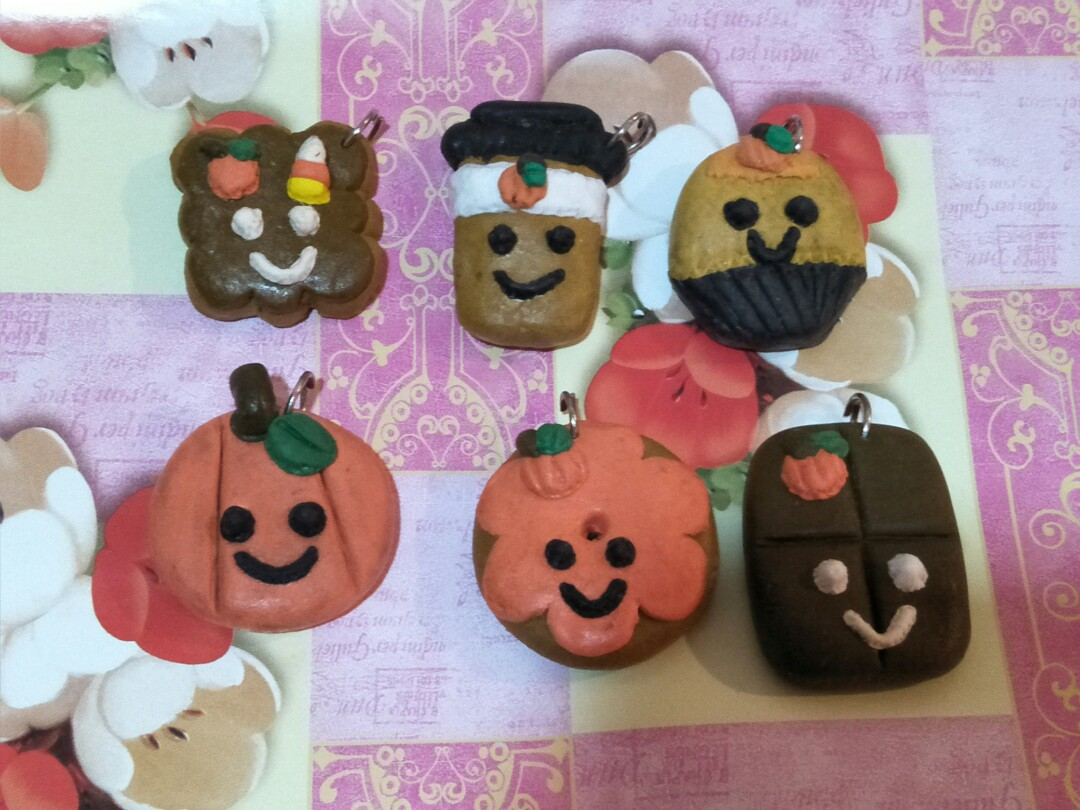 halloween smiley clay charms, design & craft, handmade craft on