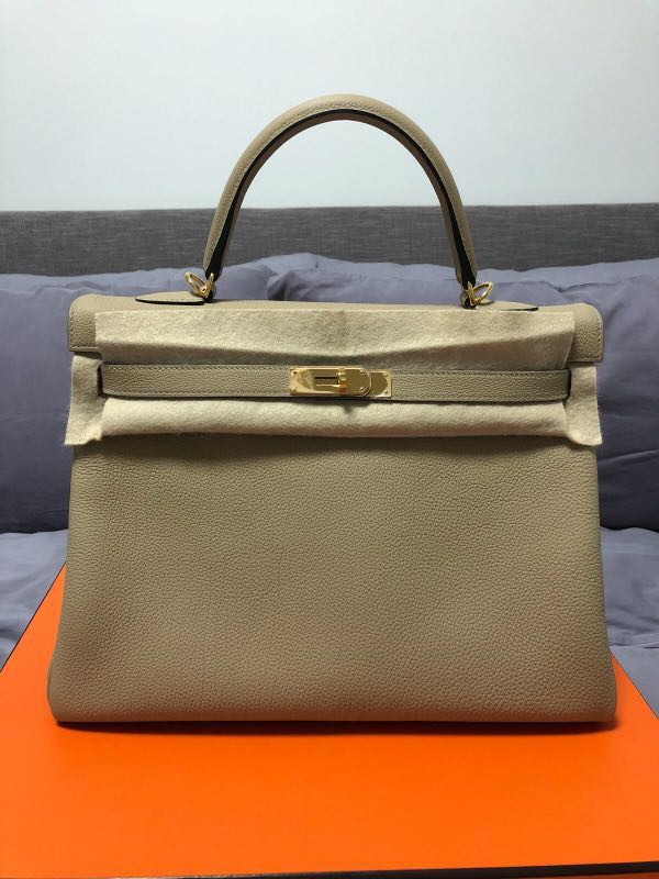 3cfc2e3cbb496 Hermes Kelly Togo 35 Trench GHW Stamp A