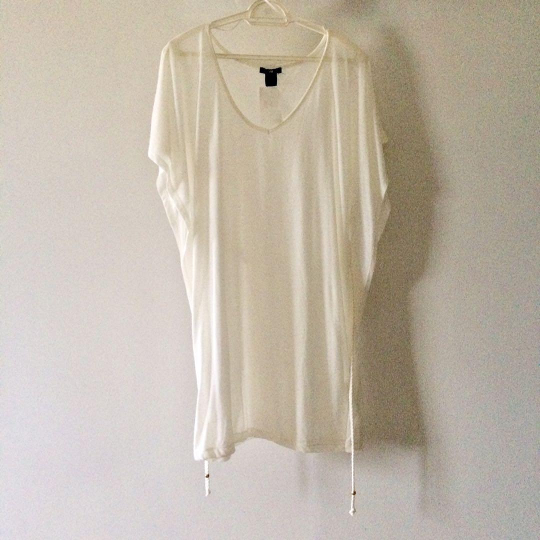 710e61a44b3 H M White Cream Beach Summer Dress