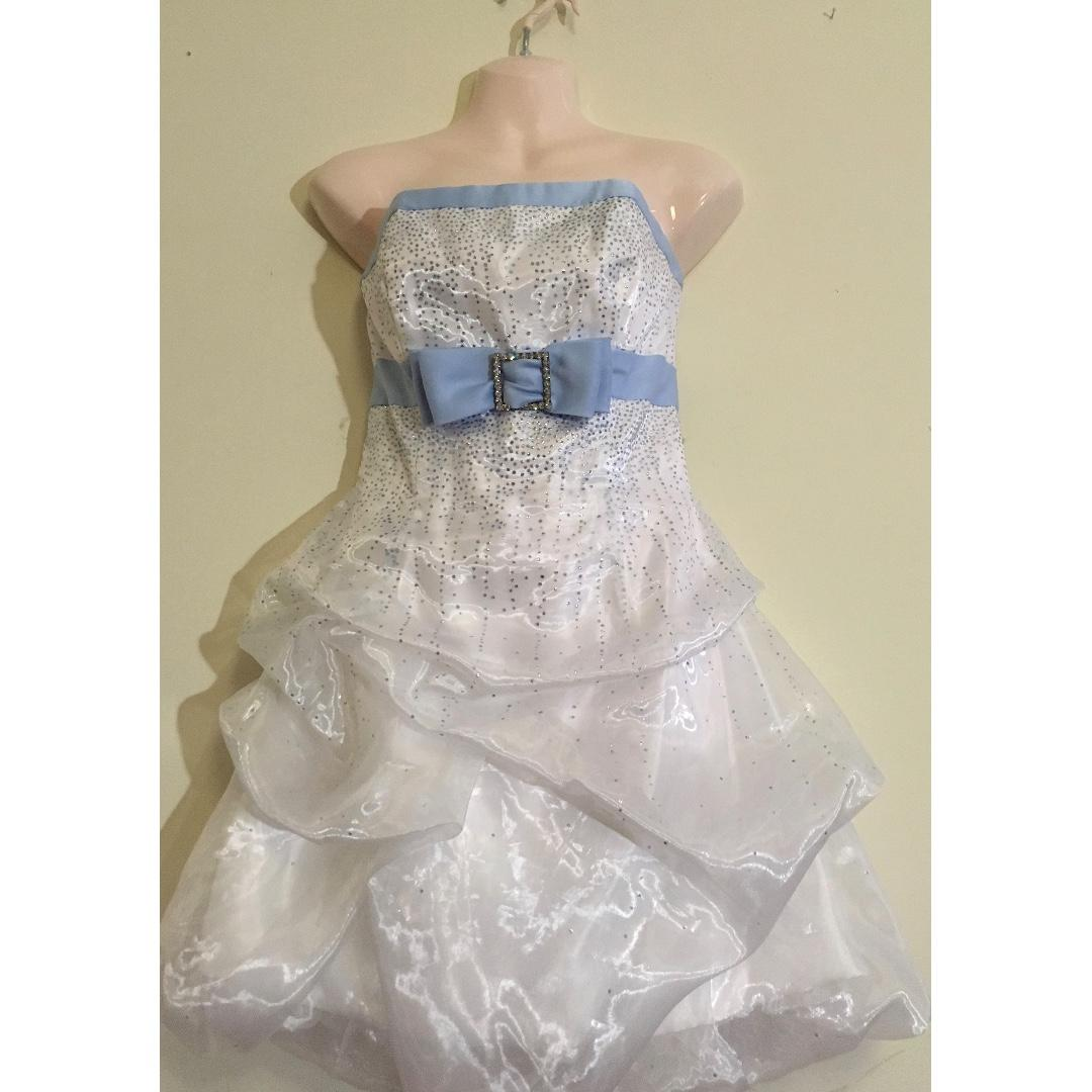 Jessica McClintock Wedding / Prom White & Baby Blue Dress