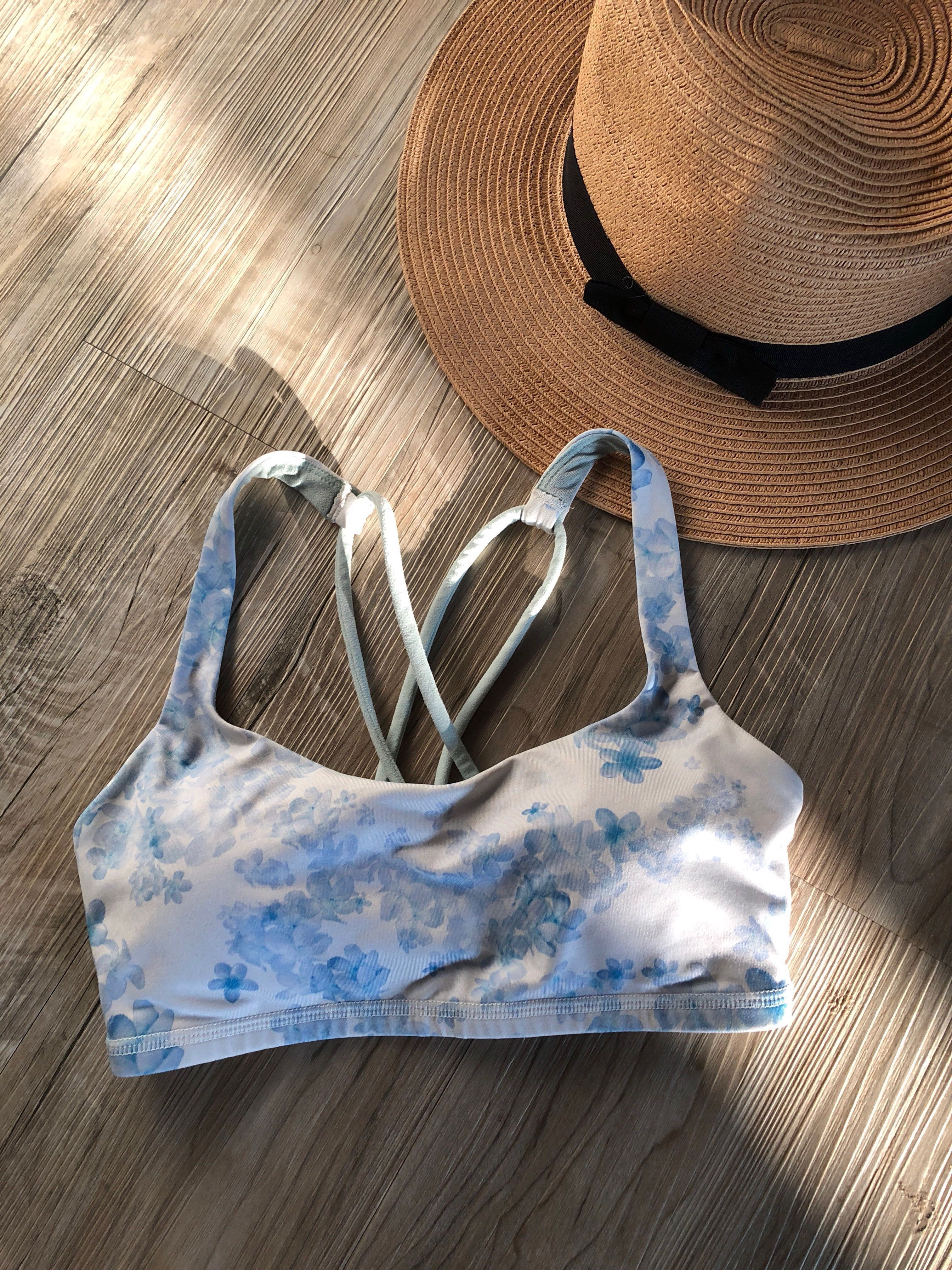 23478921149a3 Lululemon blue and white floral summer print aloha beach sports bra ...