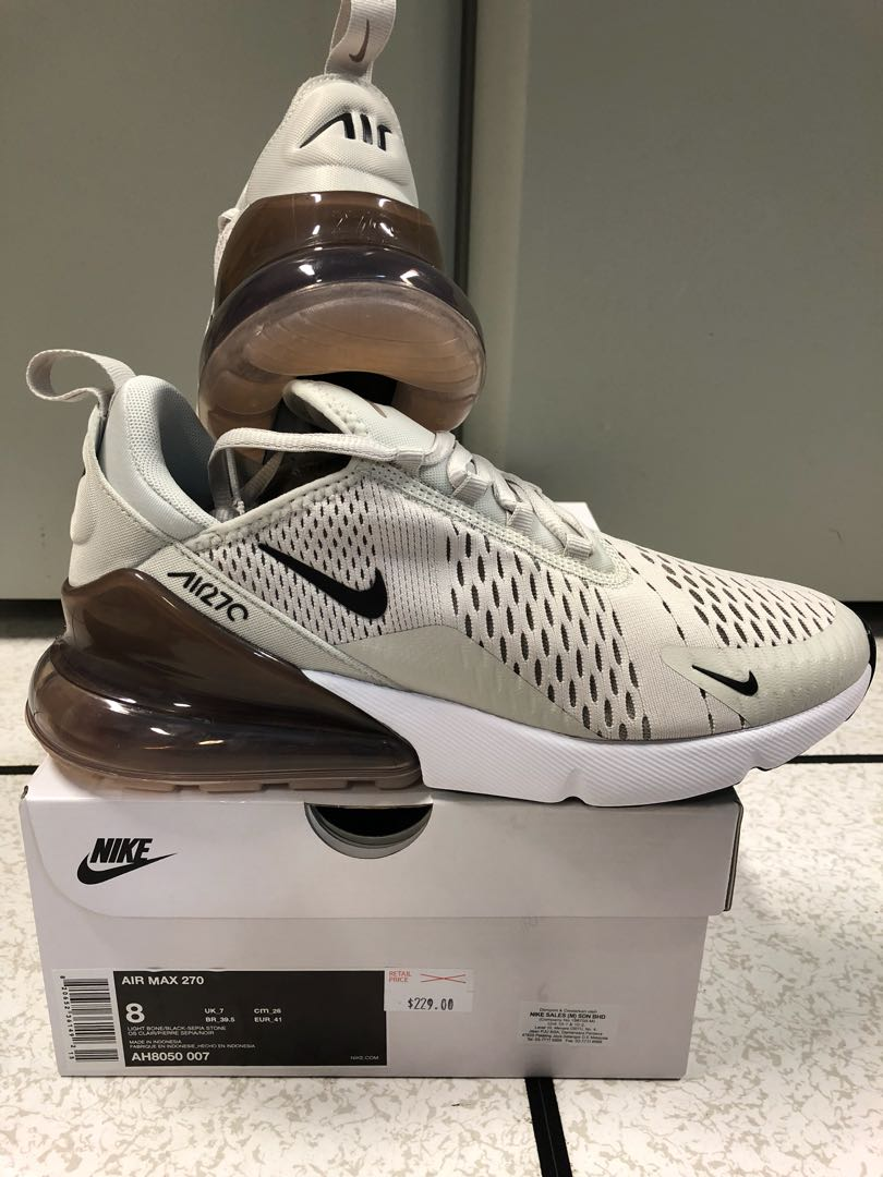 acb991bca6cf3 Nike Air Max 270 (Light Bone Black-Sepia Stone)