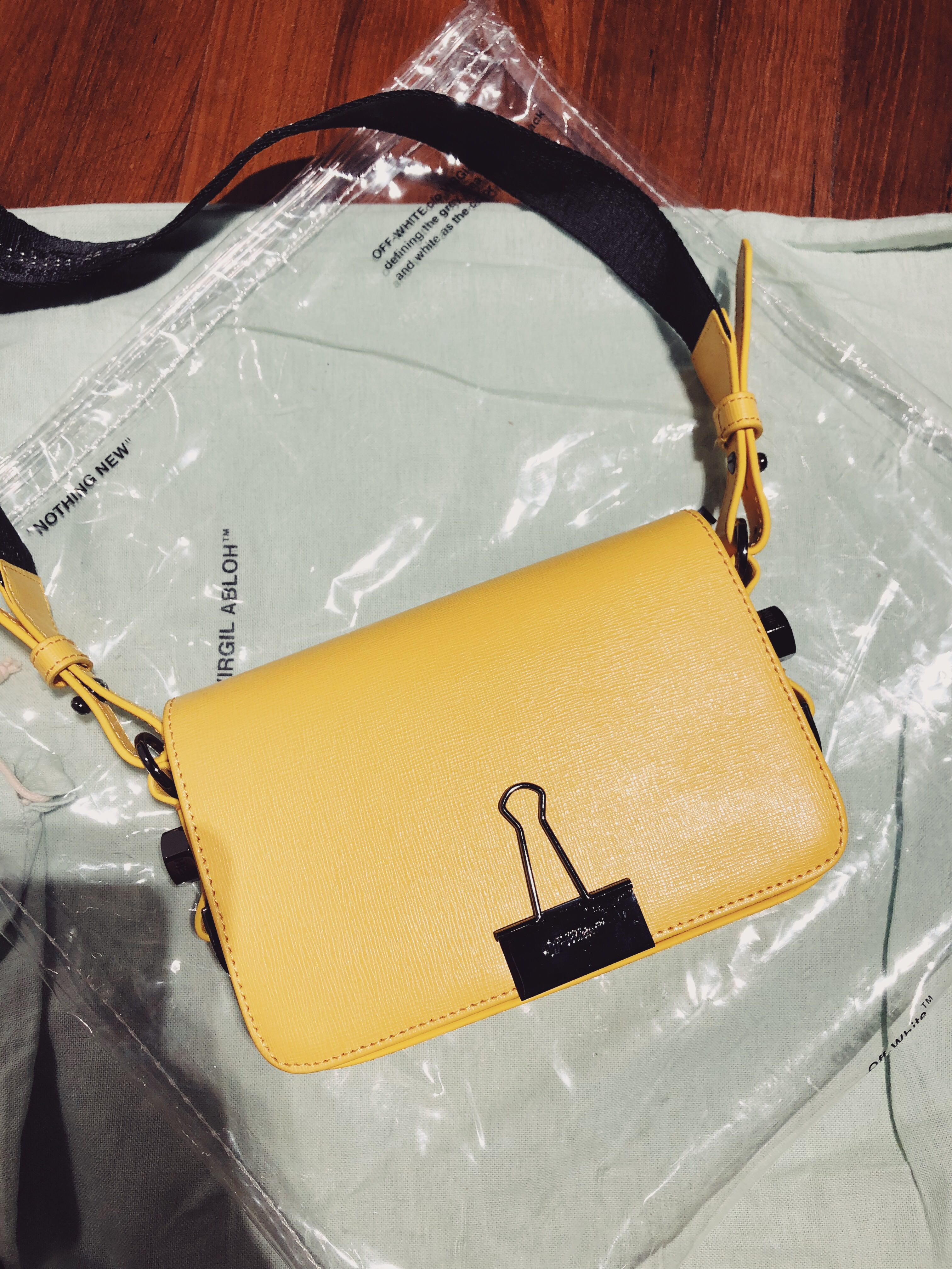 738eeb5251c0 Off-white mini binder clip bag yellow (negotiable)
