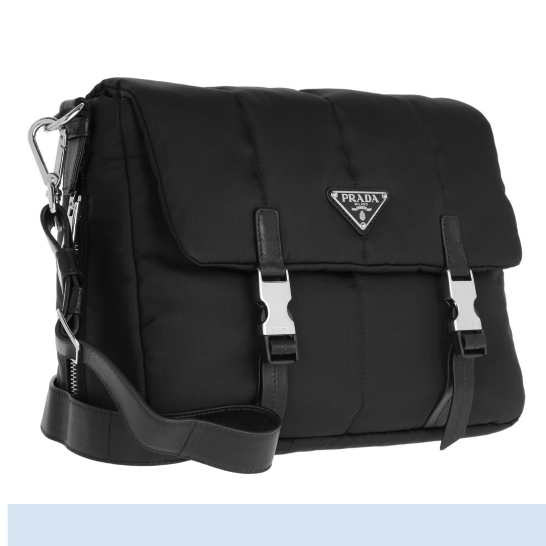 b7dff93f3558 Prada Women's Black Tessuto Nylon Bomber Messenger Used-Once Bag ...