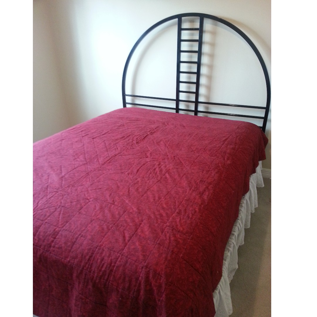 Queen Size Black Metal Bed Frame With Flat Board Furniture Beds Mattresses On Carousell
