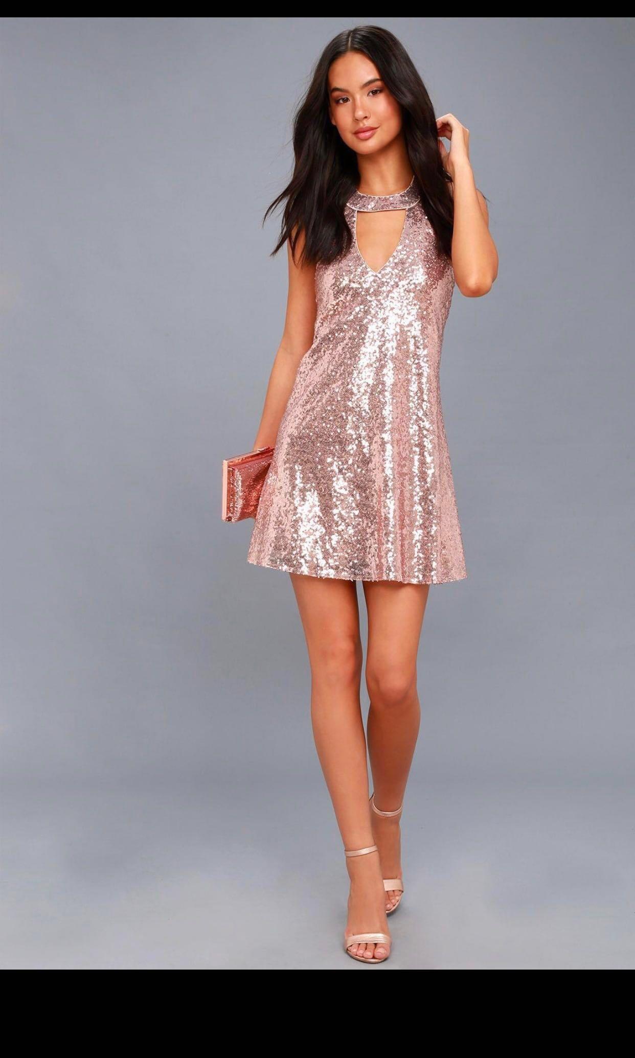 e54d440e529 Rose gold sequin dress