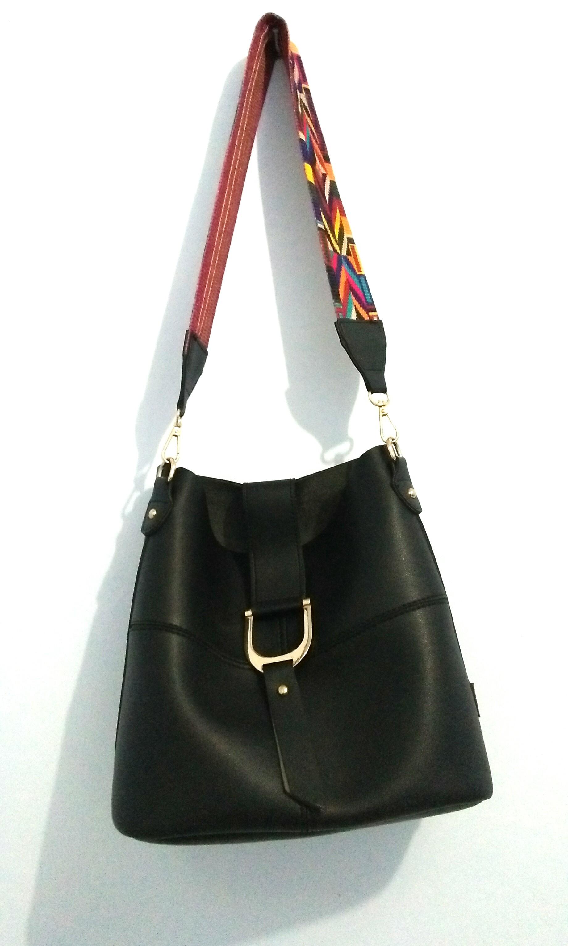 Shoulder tote bag tas hitam black miniso synthetic leather kulit ... fcfac3af22