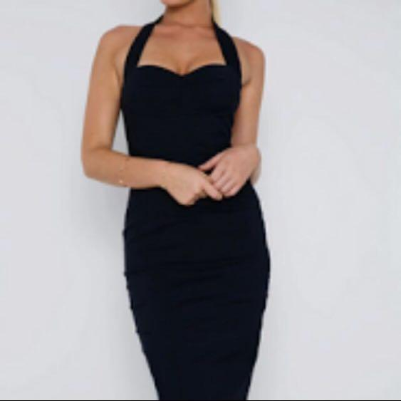 Showpo Black midi dress