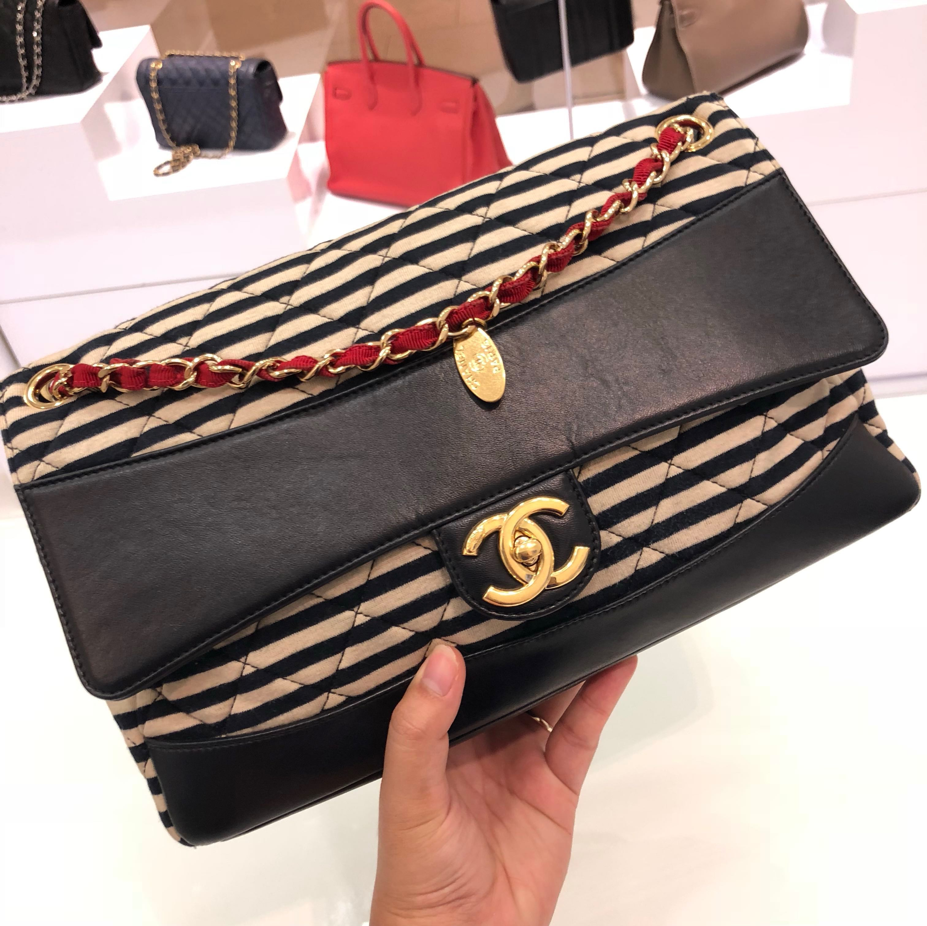 e2ed6dc17a67 ❌SOLD!❌ Super Good Deal! Chanel 2-in-1 Flap in Striped fabric ...