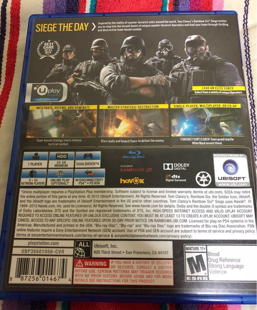 Tom Clancy's Rainbow Six Siege PS4 Game Playstation 4 PS 4