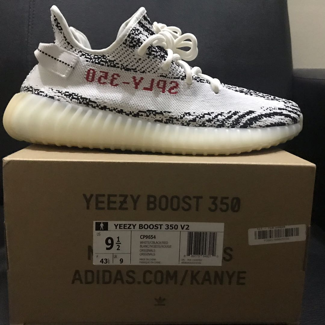 5c03ce7c1 US 9.5 Adidas Yeezy Boost 350 V2 Zebra