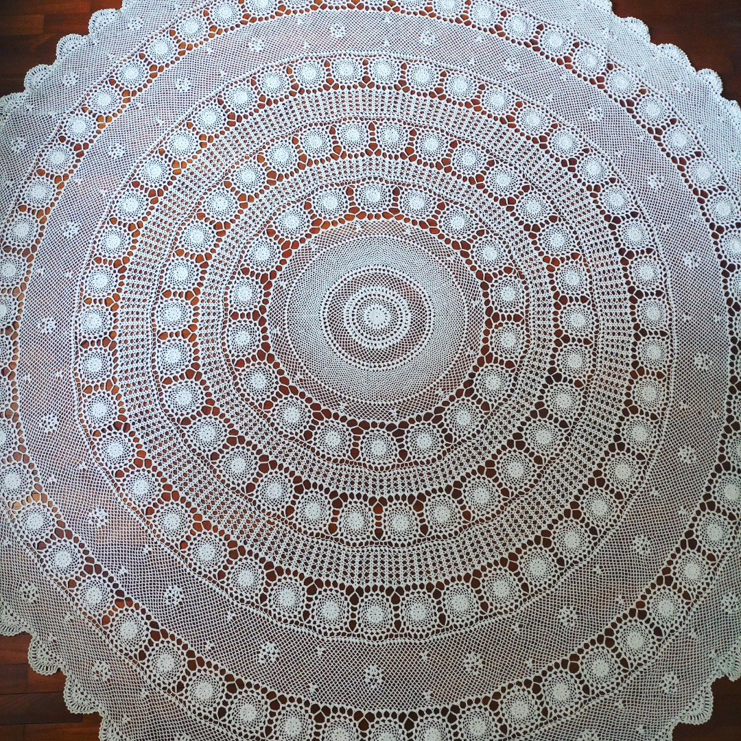 Vintage Crochet Round Tablecloth Furniture Home Decor Cushions