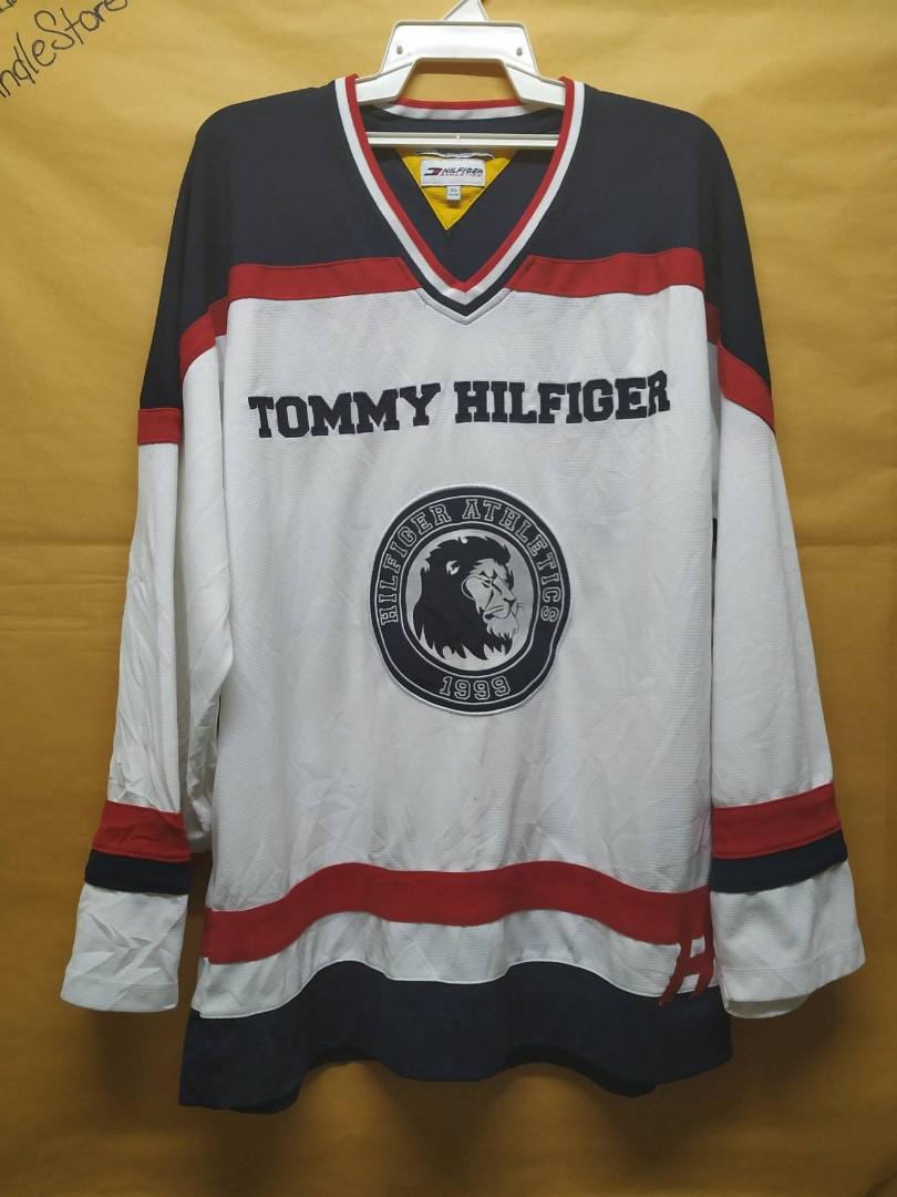 ae010075 Vintage Tommy Hilfiger Hockey Jersey Shirt, Men's Fashion, Clothes ...