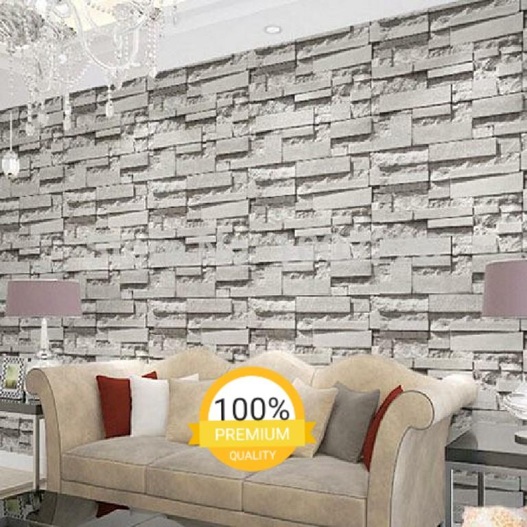 wallpaper sticker dinding batu bata abu2 minimalis 10mx45cm home rh id carousell com