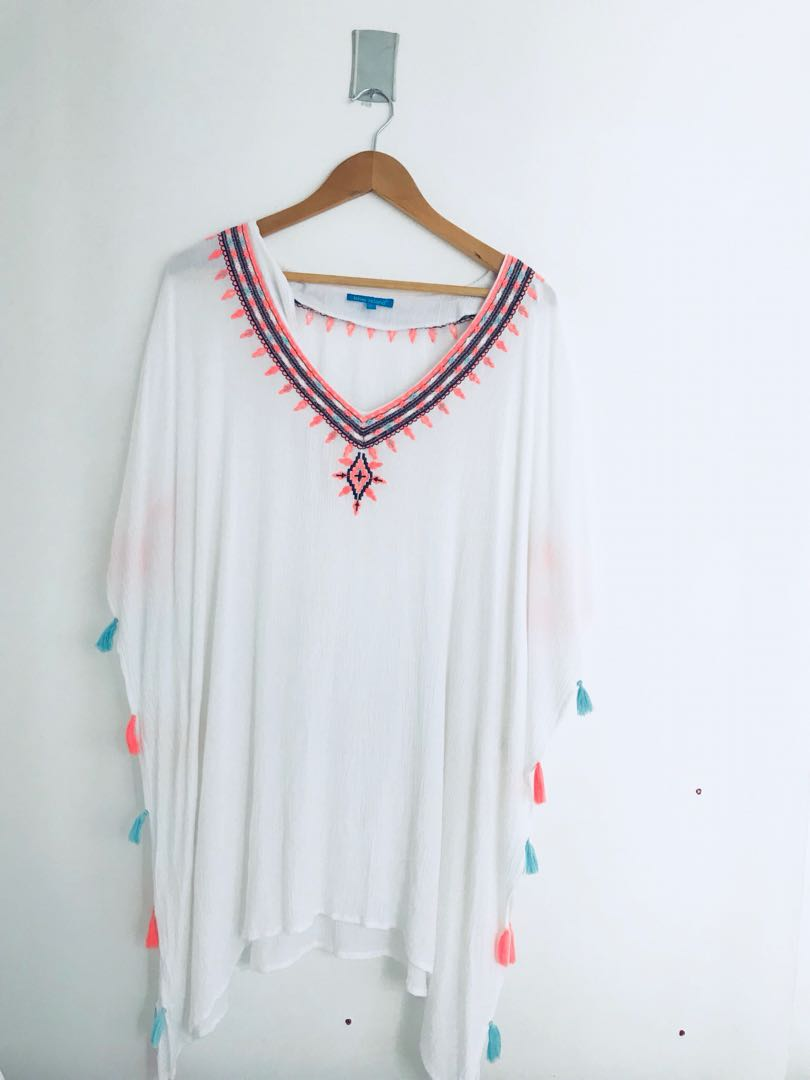 b1bcbf3a32 White Bohemian Swim Coverup, Women's Fashion, Clothes, Tops on Carousell